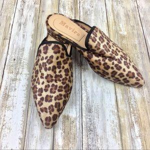 Mavirs | Faux Fur Leopard Print Mules